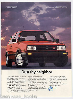 1990 Volkswagen GTI advertisement, red VW GTI
