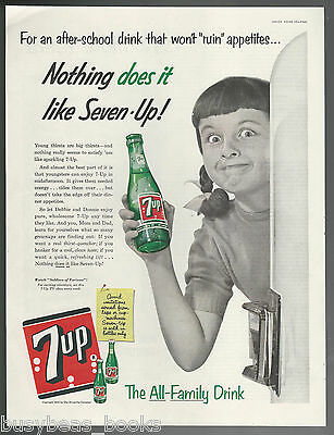 1955 7 UP advertisement, young girl at fridge, Seven-Up, large size advert