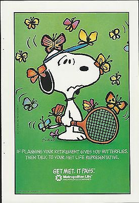 1988 MET LIFE advertisement, SNOOPY, Schulz, Metropolitan Life ad, Butterflies