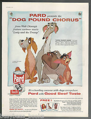 1955 PARD Dog Food advertisement, Lady & The Tramp cartoon, large size ad