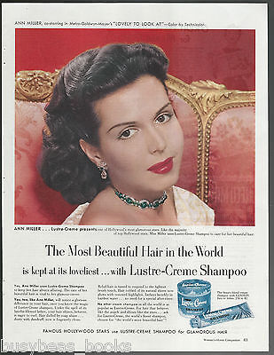 1952 LUSTRE-CREME Shampoo advertisement, Actress ANN MILLER, large size advert