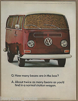 1968 VOLKSWAGEN VAN advertisement, VW Van full of Beans, large size advert