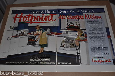 1951 Hotpoint 2-page advertisement, 50s era kitchen General Electric, huge photo