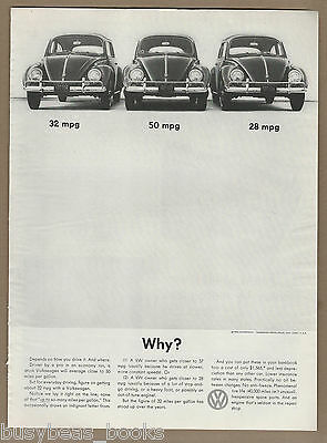 1960 VOLKSWAGEN advertisement, VW beetle, 3 VW bugs, MPG, large size advert
