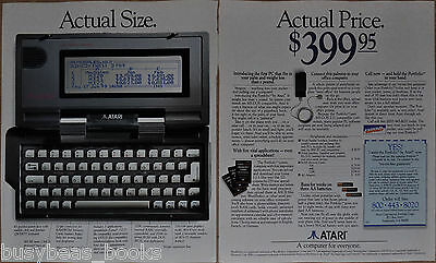 1989 ATARI Portfolio Computer 2-page advertisement, early hand-held, full-size