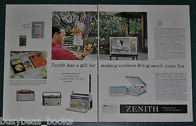 1960 ZENITH 2-page advertisement, Zenith radios TV record player large format ad