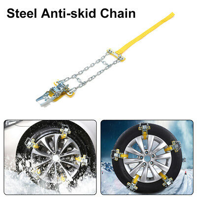 Auto Anti-skid Steel Chains Car Skid Belt Snow Mud Sand Tire Clip-on Chain Kit