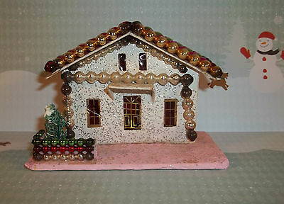 Vintage Christmas Paper PUTZ HOUSE White & Pink Glass Decor Made in JAPAN C612