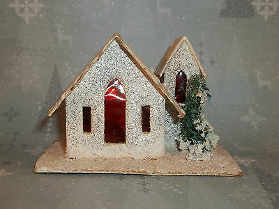 Vintage Christmas PUTZ PAPER CHURCH White Made in BLUME JAPAN C611