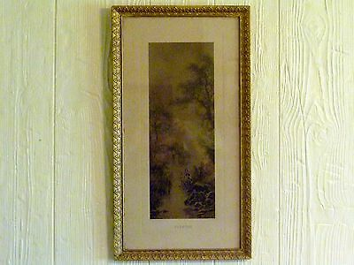 "25"" x 14"" Antique GESSO Frame EVENTIDE Mill Pond EGRET Sepia Print F.W. HAYES"