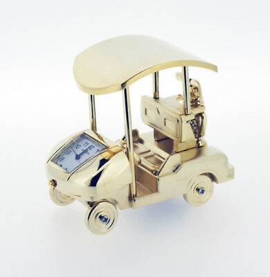 Miniature Novelty Golf Buggy Clock in Gold or Chrome Plating