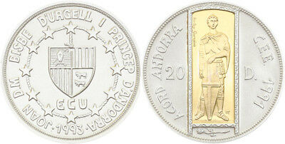 Andorra, 20 Diners 1993, Hl. Georg/1,5g gold inlay