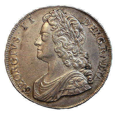 1741 Crown, George Ii Young Laureate Head, Roses In Angles, High Grade