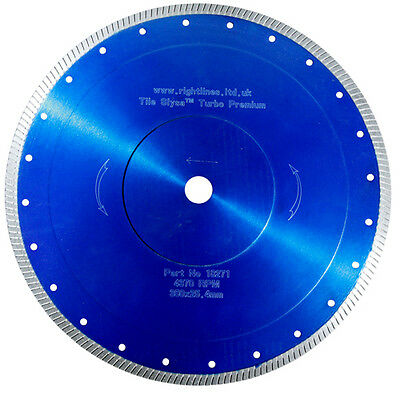 "Porcelain Tile Cutting Diamond Blade.Turbo. 300mm  20mm 12"" For Wet Or Dry Saws."