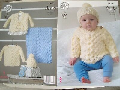 King Cole 4847 Baby's Blanket, Sweater & Hat Chunky Knitting Pattern Sizes14-22""