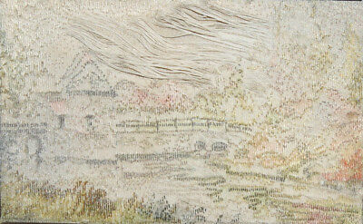Vintage hand made embroidery tapestry landscape