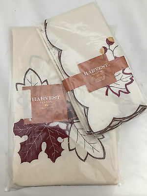 "Tablecloth & Napkins Set Autumn Fall Leaf Harvest Season  60""x102"" NWT"
