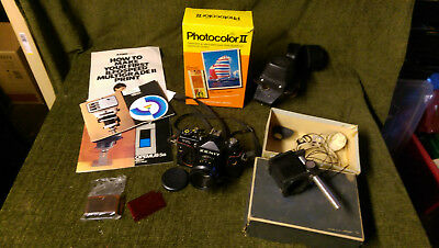 Job lot film photography and darkroom equipment. Inc Zenit camera and easel mask