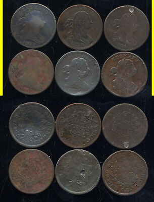 Lot Of 6 Draped Bust Half Cents- Scarce- No Reserve