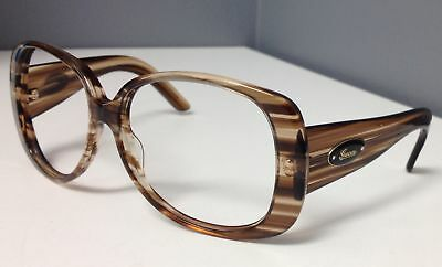 GUCCI Vintage Brown Tan Gradient Oversized Round Glasses Frames Only 125mm B2122
