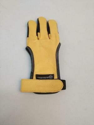 Handmade Yellow Cow Leather Gloves Three Finger Protector For Hunter Shooting