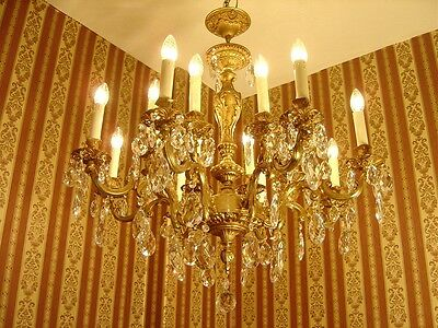 Wow 16 Light Gold Bronze Chandelier Crystal Old