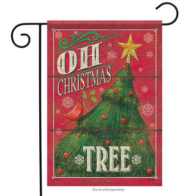 """Oh Christmas Tree Garden Flag Holiday Star Ornaments Banner 12.5""""x18"""""""