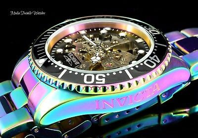 NEW Invicta 43mm Pro diver Skeleton Exhibition Dial IRIDESCENT Automatic Watch