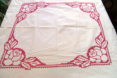 Red on White Cross Stitch Rose Cotton Luncheon Tablecloth Vintage AS IS Cutter