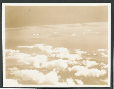 1930s Islands of Hawaii from airplane,  Large 8x10 Hawaii Photo by USAAC