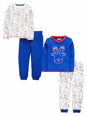 Ladybird Toddler Girls Pack Of Two Rudolf Pyjamas in Red / Blue Size 2-3 Years