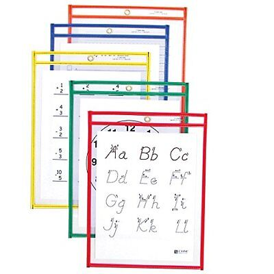 C-Line Reusable Dry Erase Pockets, 9 x 12 Inches, Assorted Primary Colors, 10