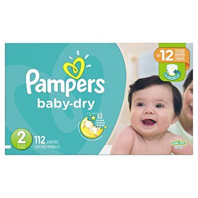 Pampers Baby-Dry Diapers Size 2 112 Count New