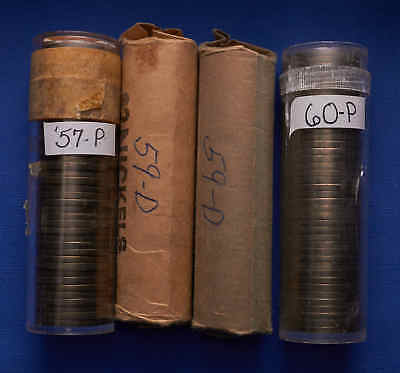 Lot of 4 Uncirculated Jefferson Nickel Rolls 1957-P, (2) 59-D,60-P