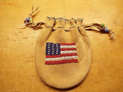 OLD VINTAGE NATIVE AMERICAN Plains Indian Beaded , SINEW TYED BAG