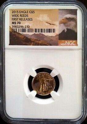 2015 $5 1/10 Oz American Gold Eagle - NGC MS 70 -  Wide Reeds - First Releases