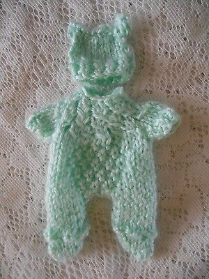"Doll Clothes Green Mint  suit for ooak hand sculpted baby 4"" 5"" fits A. Drake"