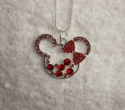 DISNEY MICKEY MINNIE MOUSE EARS Inspired Large Charm NECKLACE + Rhinestones