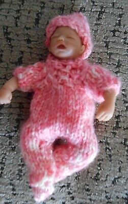 "Doll Clothes Pink Suit for ooak Hand-sculpted Baby Fits 4"" 5"" Heavenly Handful"