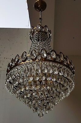 Antique French Basket Style Brass & Crystals HUGE Chandelier from 1950's  This i