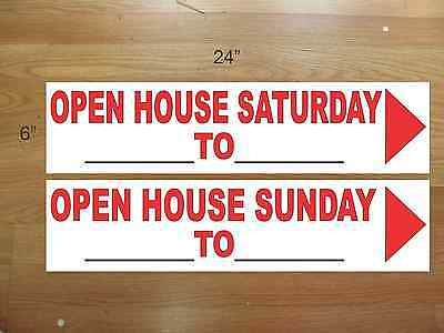 "10 6""x24"" White & Red REAL ESTATE OPEN HOUSE 5 SAT 5 SUNDAY -  NEW LOWEST PRICE"
