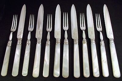 12 Piece Silver & Silver Plated & Mother Of Pearl Fruit Cutlery Set - Sheff 1914