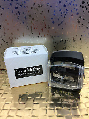 Trish McEvoy Double Pencil Sharpener, Small & Large Opening, Clear Top, Boxed