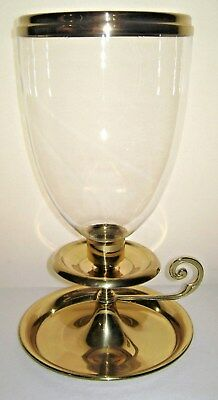 Baldwin Large Brass & Glass Candle Holder Cast Iron Base Weight Forge Marks
