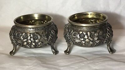 1914 Whitmore Lynn Alden Sterling Flora Ritter Sullivan Open Salt Cellar Pair