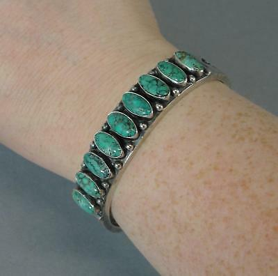 Vintage American Indian KIRK SMITH Turquoise Sterling Silver Cuff Bracelet, NR