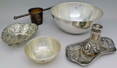 Gorham Art Nouveau Sterling Silver Trays Bowls Hammered Deco 282 Grams AUCTION