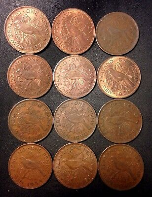 Old New Zealand Coin Lot - 1940-1964 - 12 Large Pennies - Lot #922