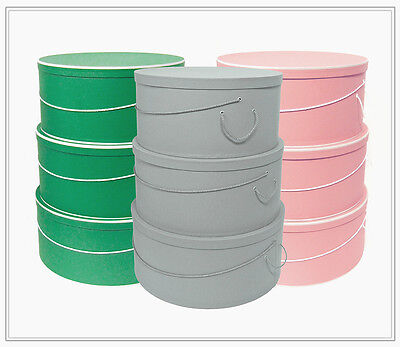 """XL ~ 18""""-19""""-20"""" x 9"""" MILLINERY HATBOXES ~ Stack of 3 ~ Taupe/Rose/Kelly Choice"""