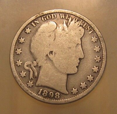 1898 Barber Half Dollar - Very Good Condition - 3FR